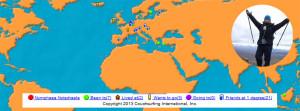 wereld kaart met markeringen in Nederland, Noorwegen, Zweden, Maleisie, Griekenland, Turkije, Duisland.