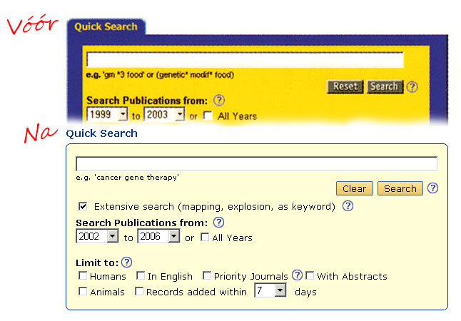 Quick Search voor en na herontwerp