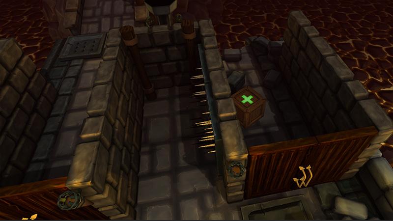 Schuin boven-voor aanzicht van twee deuren met gang.