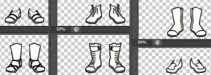 zes paar schoenen getekend in zwart, wit en grijs.