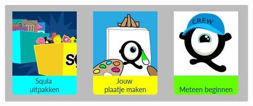 drie keuzes: uitpakken, plaatje maken, meteen beginnen