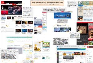 collage van verschillende websites met dingen omcirkeld en stukjes uitleg
